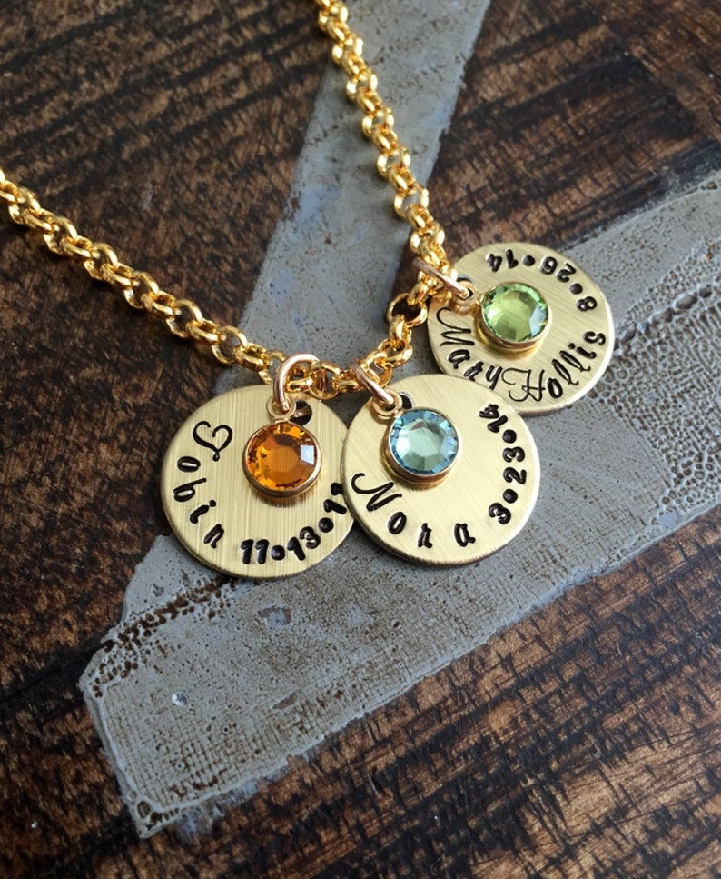 Handstamped Gold Necklace Name Necklace Gold Birthstone | Etsy
