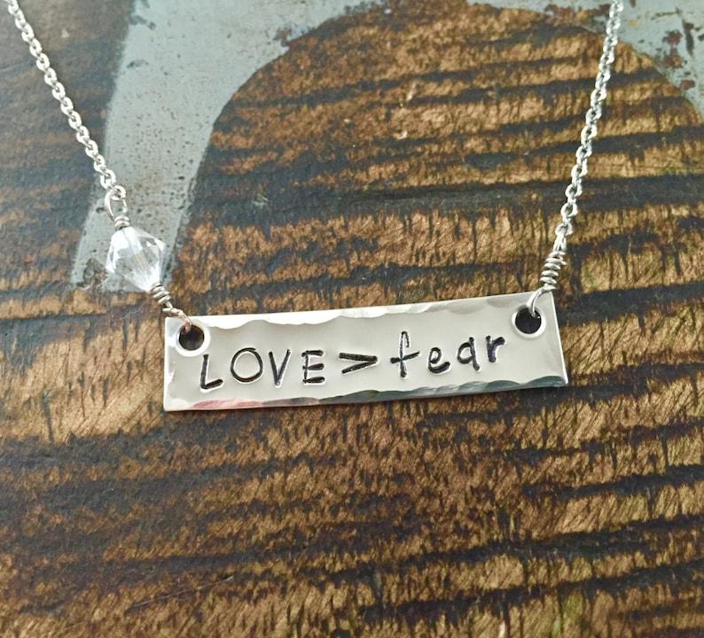 Lovefear Necklace Bar Necklace Lovefear Jewelry Handstamped Necklace Handstamped Jewelry Engraved Bar Necklace