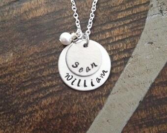 Mom Necklace Grandchild Necklace Personalized Necklace Personalized Jewelry Handstamped Necklace Name Necklace Gift for Mom Gift for Grandma