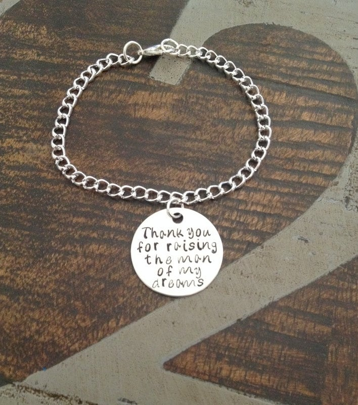 personalized mother in law bracelet thank you for raising the man of my dreams bracelet wedding jewelry charm bracelet gift for mom