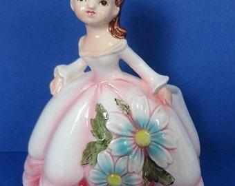 Vintage Ceramic Girl With Flowered Dress Planter Japan