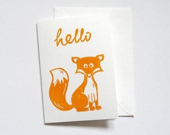 Hello Foxy card, fox linocut greetings card, cute hand printed animal note card, fun fox anniversary card