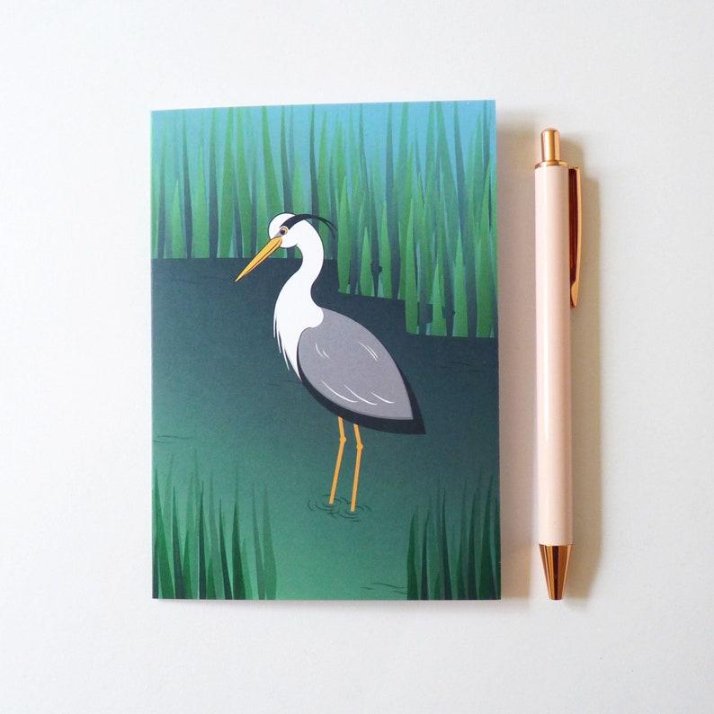 Grey Heron illustrated greetings card