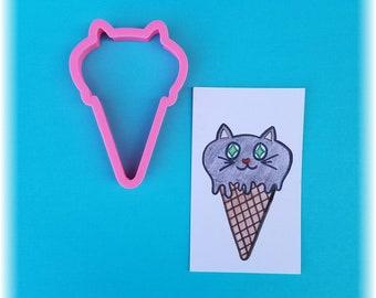 Halloween Cat Kitty Ice Cream Cone Cookie Cutter