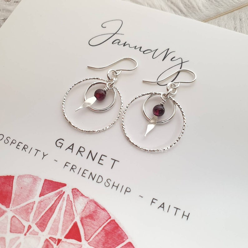 Gift for Daughter Gift for January Birthday Circle Sterling Silver Earrings Garnet Birthstone Garnet Jewellery Jewelry Gift for Friend