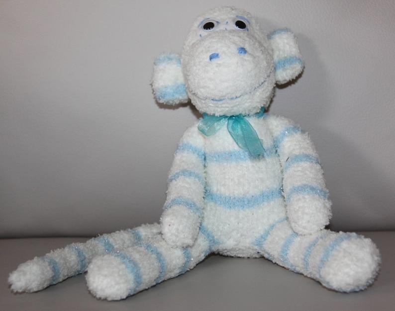 Cute Handmade Small Sock Monkey Doll Stocking Stuffer Animal Toy