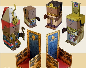 Egyptian pharaoh and family Mini-people paper toys. Cut, assemble and play. Instant download.
