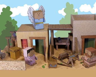 Bible MiniWorld Paper Toys - the Annunciation - Cut, assemble and play. Instant Download