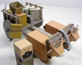 MINIWORLD PAPER TOYS – Double ox-cart – Cut, assemble and play. Instant download.