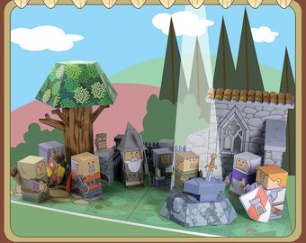 Medieval MiniWorld - The sword in the rock. Cut, assemble and play. Instant download.