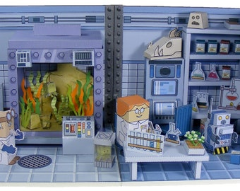 Sci-fi MiniWorld PaperToys – The Science Lab. Instant download