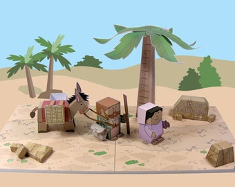 Bible MiniWorld Paper Toys – Journey to Bethlehem – Cut, assemble and play. Instant Download