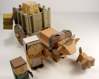 MINIWORLD PAPER TOYS – Ox-cart – Cut, assemble and play. Instant download.