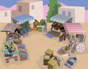 Bible MiniWorld Paper Toys – Market Stalls - Cut, assemble and play. Instant Download