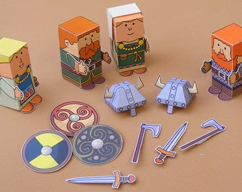Vikings Minipeople paper toys. Cut, assemble and play. Instant download.