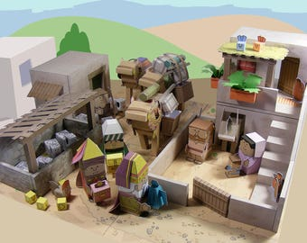 Bible MiniWorld Paper Toys – Visit of the Wise Men - Cut, assemble and play. Instant Download