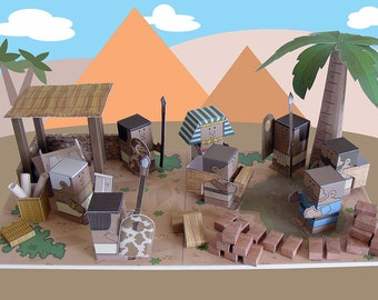 Bible MiniWorld Paper Toys - Slaves in Egypt - Cut, assemble and play. Instant download