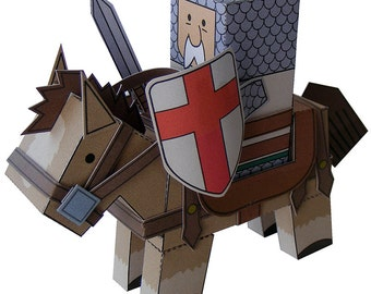 Castle MiniWorld - The Old Knight. Cut, assemble and play. Instant download.
