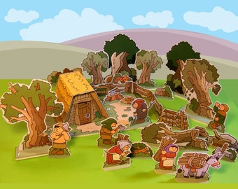 Medieval Village – The Woodcutter – Cut out play set