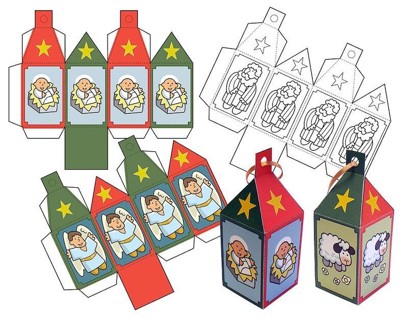 Nativity Paper Ornaments set 2. Instant download image 1