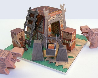 Dino MiniWorld paper toys - The Hut. Cut, assemble and play. Instant download.
