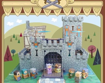 Castle MiniWorld paper toys. Cut, assemble and play. Instant download.