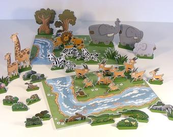 "DIY Paper Toys Cut Out Play-set ""Savanna Adventures"""