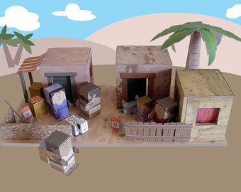 Bible MiniWorld Paper Toys - Hebrew Houses - Cut, assemble and play. Instant download