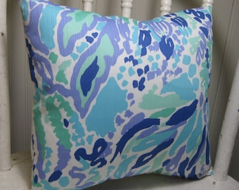 """Lilly Pulitzer Accent Pillow with INSERT (12""""x12""""))  / Nice Ink /Preppy/Southern /Sorority Gift/Dorm Bedding/Baby Gift"""