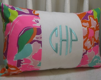 Lilly Pulitzer Monogrammed Accent Pillow with INSERT/ Multi Lulu /Preppy/Southern /Sorority Gift/Dorm Bedding