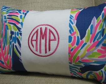 Lilly Pulitzer Monogrammed Accent Pillow with INSERT/Multi Palm Reader Blue /Preppy/Southern /Sorority Gift/Dorm Bedding/Baby Gift