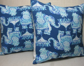 """Lilly Pulitzer (Joy Ride) Accent Pillow with INSERT 12""""x12""""  / Preppy/Southern /Sorority Gift/Dorm Bedding/Baby Gift"""