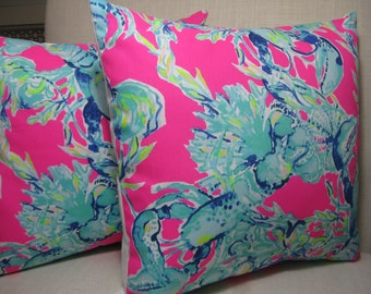 """Lilly Pulitzer Accent Pillow with INSERT (16""""x16"""")  / Lobsters in Love /Preppy/Southern /Sorority Gift/Dorm Bedding/Baby Gift"""