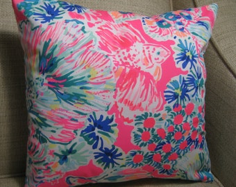"""Lilly Pulitzer (Gypsea Accent Pillow with INSERT 12""""x12""""  / Preppy/Southern /Sorority Gift/Dorm Bedding/Baby Gift"""
