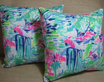 Lilly Pulitzer (Multi Salt in the Air) Accent Pillow with INSERT (Choose Size)  / Preppy/Southern /Sorority Gift/Dorm Bedding/Baby Gift