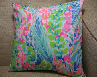 """Lilly Pulitzer (Catch the Wave) Accent Pillow with INSERT 16""""x16""""""""  / Preppy/Southern /Sorority Gift/Dorm Bedding/Baby Gift"""