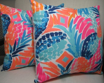 """Lilly Pulitzer Accent Pillow with INSERT (16""""x16"""")  / Goombay Smashed /Preppy/Southern /Sorority Gift/Dorm Bedding/Baby Gift"""