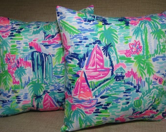 """Lilly Pulitzer (Multi Salt in the Air) Accent Pillow with INSERT 12""""x12"""" or 16""""x16""""  / Preppy/Southern /Sorority Gift/Dorm Bedding/Baby Gift"""