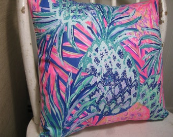"""Lilly Pulitzer Accent Pillow with INSERT (16""""x16"""")  / Gypset Paradise /Preppy/Southern /Sorority Gift/Dorm Bedding/Baby Gift"""
