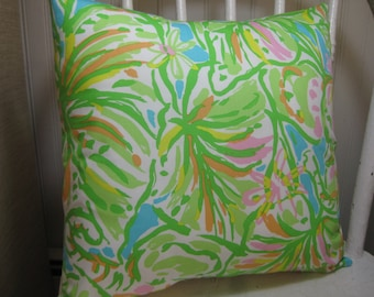 """SAMPLE SALE Lilly Pulitzer Accent Pillow with INSERT (12""""x12"""")  / Elephant Ears /Preppy/Southern /Sorority Gift/Dorm Bedding/Baby Gift"""