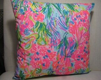 """New Lilly Pulitzer (Fan Sea Pants) Accent Pillow with INSERT 12""""x12""""  / Preppy/Southern /Sorority Gift/Dorm Bedding/Baby Gift"""