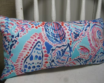 Lilly Pulitzer (Multi Shell Me About It) Accent Pillow with INSERT Choose Size / Preppy/Southern /Sorority Gift/Dorm Bedding/Baby Gift