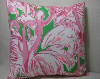 """Lilly Pulitzer (Prep Green Pink Colony) Accent Pillow with INSERT 12""""x12""""  / Preppy/Southern /Sorority Gift/Dorm Bedding/Baby Gift"""