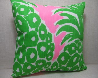"""Lilly Pulitzer Accent Pillow with INSERT (12""""x12"""") / Pout Flamenco /Preppy/Southern /Sorority Gift/Dorm Bedding/Baby Gift"""