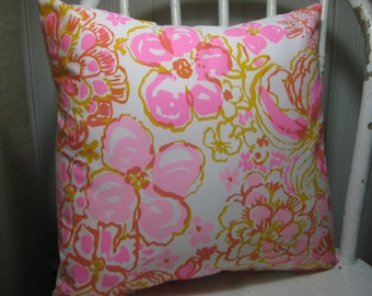 """SAMPLE SALE Lilly Pulitzer Accent Pillow with INSERT (16""""x16"""")  / Happiness is Cotton /Preppy/Southern /Sorority Gift/Dorm Bedding/Baby Gift"""