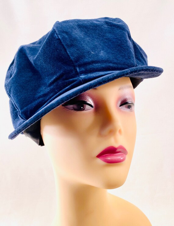 Blue Suede Classic 8 Panel Peaked Beret, Newsboy,