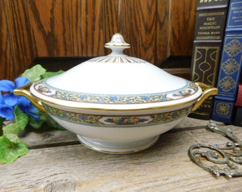Elegant White and Gold with Pale Yellow Border with Colorful Flowers Antique Covered Casserole The Admiral Pattern by Thomas Bavaria