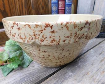 Vintage Ransbottom Pottery Co. Yellow Ware Spongeware Mixing Bowl