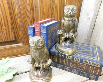 Vintage Brass 1974 S.C.C. Owl Bookends