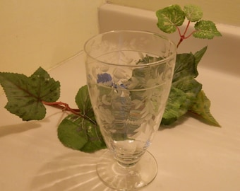 Set of 4 Beautiful Crystal Water Goblets with an Etched Flower and Leaf Design